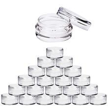 100pcs 2g/3g/5g/10g/15g/20g ריק פלסטיק קוסמטי איפור סירי צנצנת שקוף מדגם בקבוקי צלליות קרם המכל