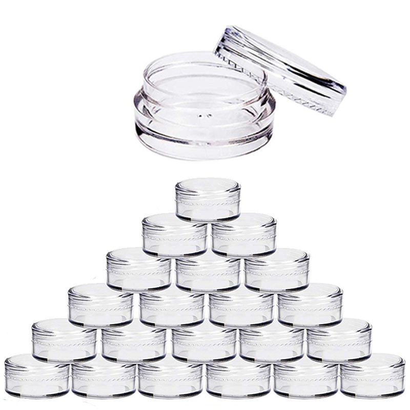 100pcs 2g/3g/5g/10g Empty Plastic Cosmetic Makeup Jar Pots Transparent Sample Bottles Eyeshadow Cream Lip Balm Container