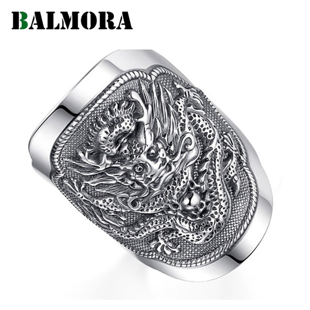BALMORA 990 Pure Silver Kirin Animal Open Rings for Men Vintage Fashion Thai Silver Ring Gift Party Jewelry Anillos