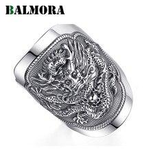 BALMORA 990 Reinem Silber Kirin Tier Offene Ringe für Männer Vintage Mode Thai Silber Ring Geschenk Partei Schmuck Anillos