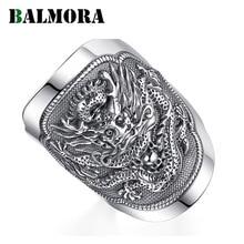 BALMORA 990 czyste srebro Kirin zwierząt otwarte pierścienie dla mężczyzn w stylu Vintage moda Thai srebrny pierścień prezent Party biżuteria Anillos