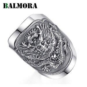Image 1 - BALMORA 990 טהור כסף קירין בעלי החיים פתוח טבעות לגברים בציר אופנה תאילנדי כסף טבעת מתנת מסיבת תכשיטי Anillos