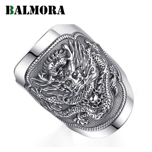 BALMORA 990 טהור כסף קירין בעלי החיים פתוח טבעות לגברים בציר אופנה תאילנדי כסף טבעת מתנת מסיבת תכשיטי Anillos