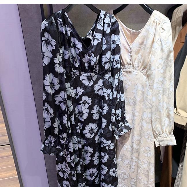 2020 Spring Women's V-neck Midi Dress Long Sleeve Floral Printed Loose Lady Long Dress