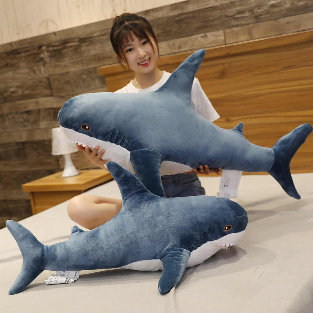 Almohada de juguete de peluche de tiburón de mordida suave y divertida, tamaño grande 80/100cm, regalo para niños