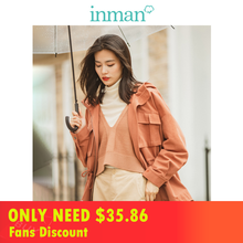 INMAN 2019 Autumn New Arrival Fashion Contrast Hooded Personality Drop-shoulder Sleeve All Matched Women Short Coat