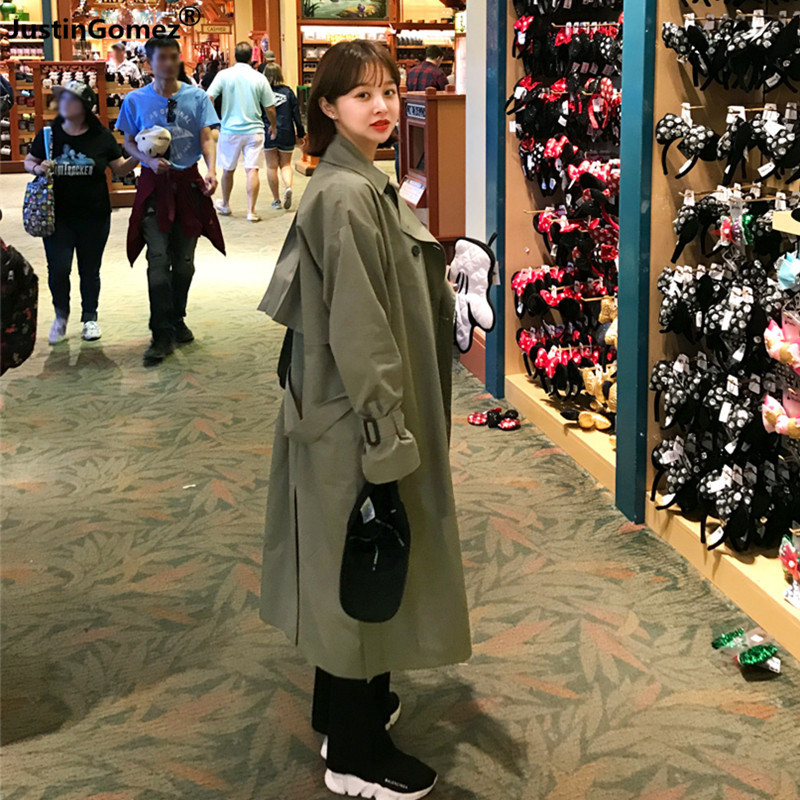 Women's Fashion 2019 Army Green Oversize Overcoat Fall /Autumn Simple Chic   Trench   Coat Korean Edition Loose Manteau Femme Hiver
