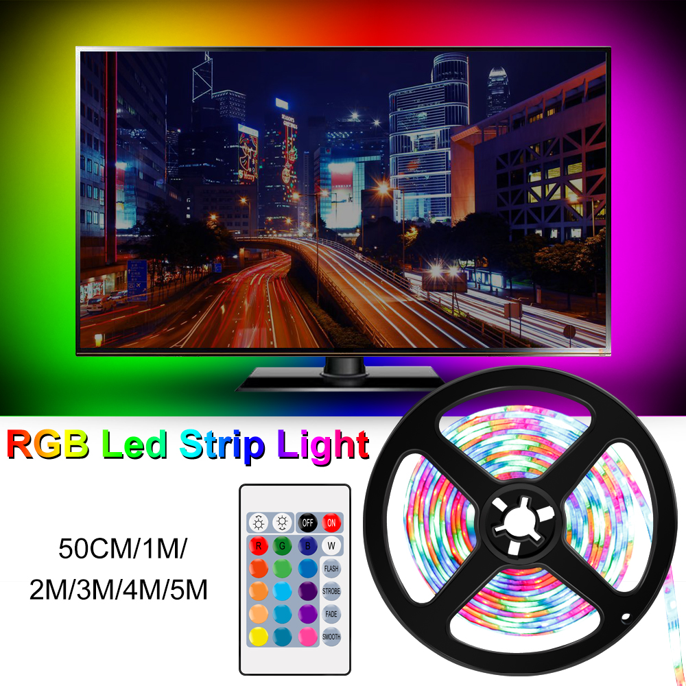 RGBW USB Led Strip Light RGB LED Lighting Tape Lamp Diode Neon Ribbon Controller DC 5V Kit EU US Adapter