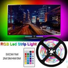RGBW USB Led Strip Light RGB LED Lighting Tape Lamp Diode Neon Ribbon Controller DC 5V Kit EU US Adapter