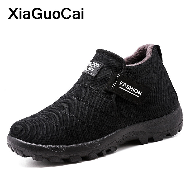 Winter Warm Men Snow Boots High Top Man Shoes With Fur Plush Cotton Male Ankle Boots Cheap Comfortable Father's Footwear Fashion