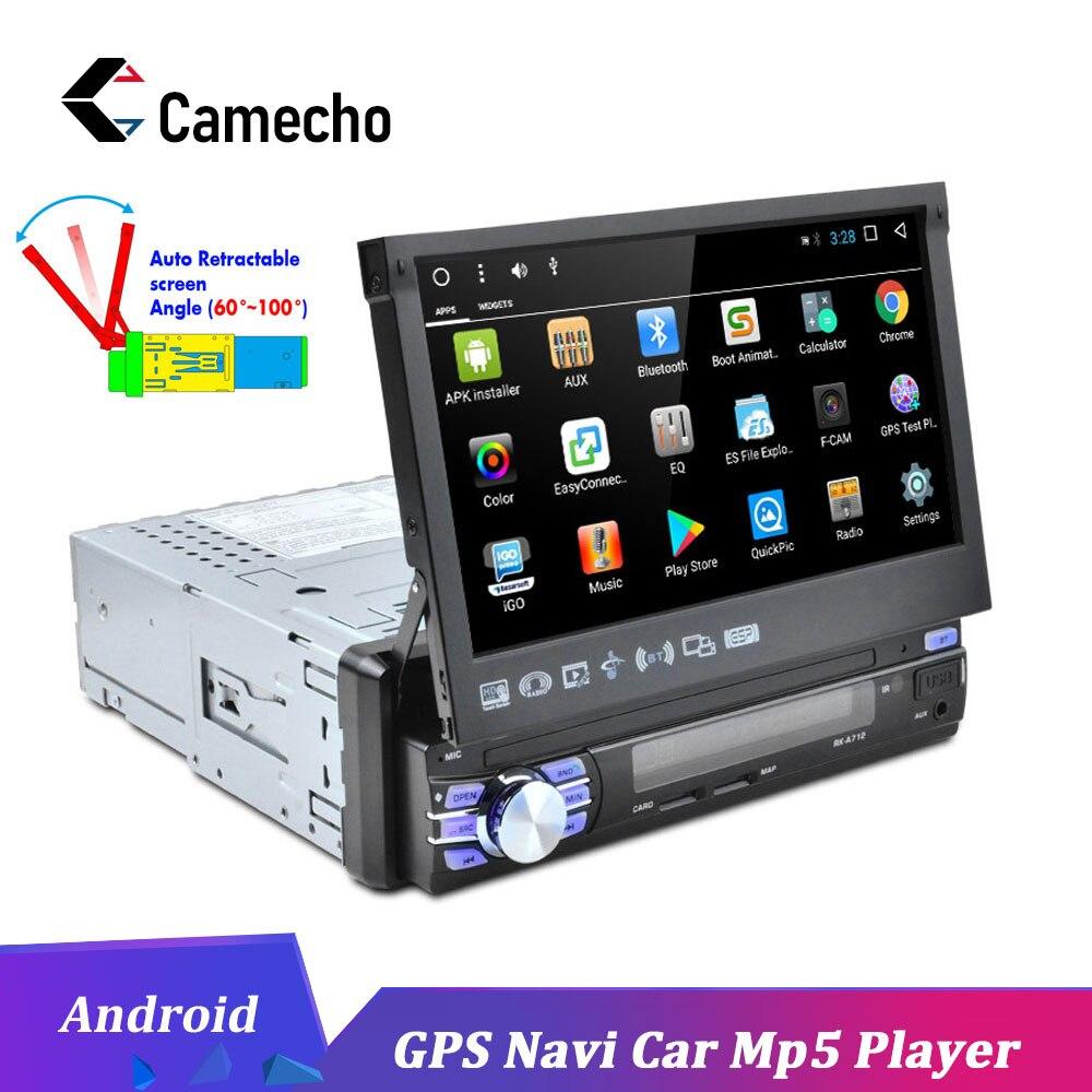 """1DIN 7/"""" Android Retractable Screen Touch Radio de coche MP5 FM WIFI GPS Navi DVR"""