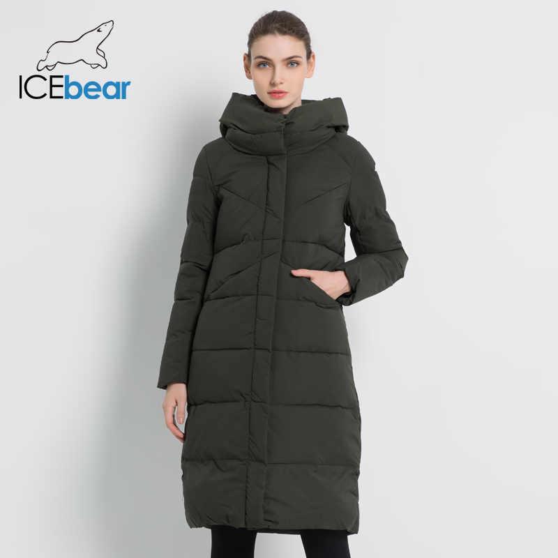 ICEbear 2019 nueva parka de marca de moda para mujer chaqueta de invierno diseño de puño simple a prueba de viento caliente para mujer Abrigos de alta calidad GWD18150
