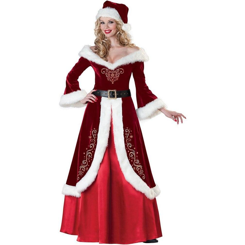 European And American Christmas Vintage Christmas Dresses Palace Dresses Couples Santa Claus Plus Velvet Christmas Dress