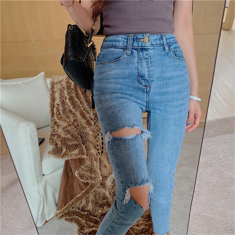 Real shot 2020 new fashion retro design all-match stretch jeans women's tight sexy high waist casual small feet nine-point jeans