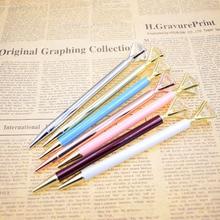 Gem Ballpoint pen Big Diamond Crystal Pens 1 mm Black Ink Metal BallPen Kawaii Magical Fashion Office  School Supplies