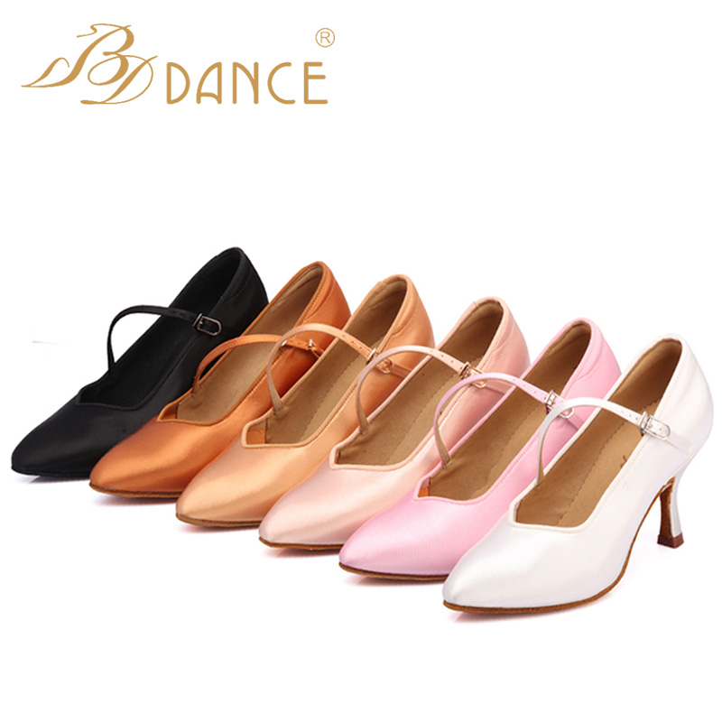 BD Dancer's Standard Shoes Classic Satin All Season High Heel Female Dance Shoes Soft Outsole Modern Dance 138  Free Shipping