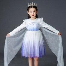 Винтажное платье из 100% хлопка с длинным рукавом, бальное платье на день рождения, платье принцессы Эльзы для малышей от 3 до 8 лет