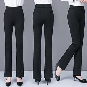 Autumn Winter Woman Elasticity Bell Bottom Pants Plus Size High Waist Elegant Long Pants Fashion Ladies Flared Trousers