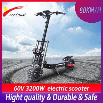 Patinete eléctrico sin escobillas de 60V y 3200W, de alta velocidad, de 110 KM/H, para adulto, con Motor Dual, aeropatín Scooter plegable