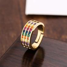 18k banhado ajustável aberto cristal pedra anéis arco-íris anéis finos jóias de ouro de luxo feminino anéis de jóias de ouro para mulher