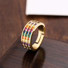 Anel de casamento feminino, anel de ouro da moda para mulheres, anel de arco-íris ajustável, multicolor, de cristal, cobre, joia, presente para mulheres