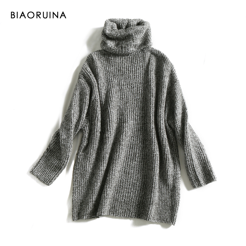 REJINAPYO 15 Color Women Fashion Solid Casual Knitted Sweater Female Turtleneck Oversized Pullover Ladies Elegant Loose Sweater 3