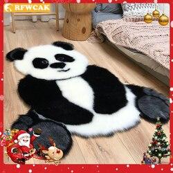 Tapis Shaggy, motif Panda, Imitation fourrure, cuir, pour salon, décoration de chambre d'enfant