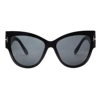 2019 New Fashion Brand Designer Tom Cat Eye Sunglasses Women Oversized Frame Vintage Sun Glasses oculos de sol UV400 - C6