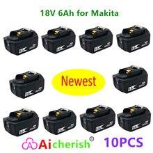 Makita – batterie Lithium-ion 18V, 6ah, Rechargeable, pour modèles BL1860, BL1840, BL1850, BL1830, BL1860, BLXT400, DC18RC