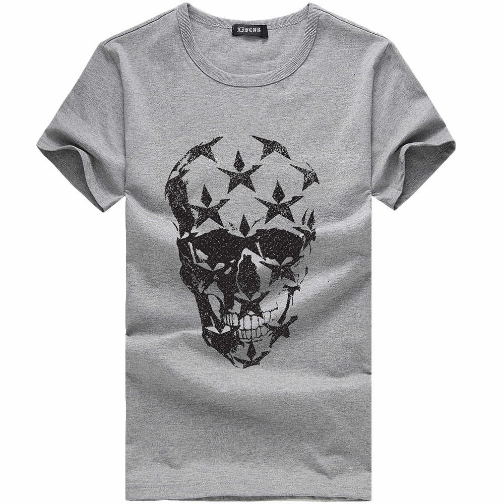 2019 Men Funny T Shirts Summer Fashion Skull Design Short Sleeve Casual Tops Skull Printed Casual T-Shirt Cool Tee Tops camiseta