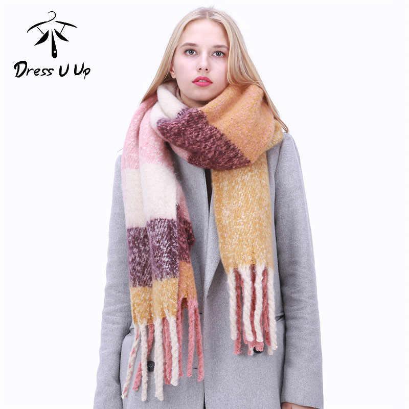Dressuup 새로운 패션 긴 스카프 목도리 여성 가을과 겨울 새로운 색상 혼합 야생 따뜻한 두꺼운 드리 워진 스카프