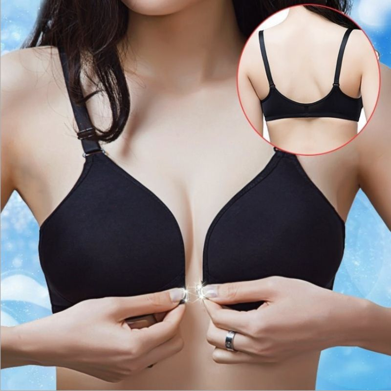 Fashion Sexy Thin Section Front Buckle Smooth No Trace Steel Ring Gathered Bra