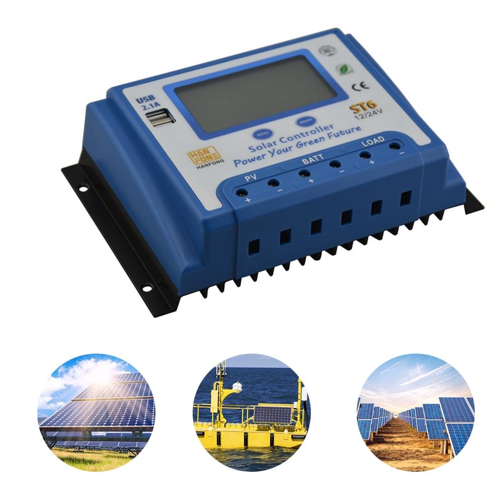 60a 50a 40a 30a 20a 10a 12v 24v controlador de carga solar automatico pwm controladores lcd