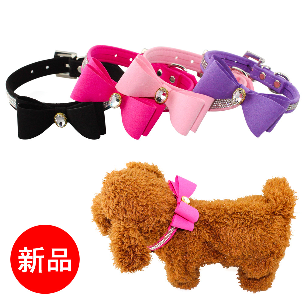 2019 New Products Microfiber Man-made Diamond Bow Pet Collar Dog Traction Dog Supplies