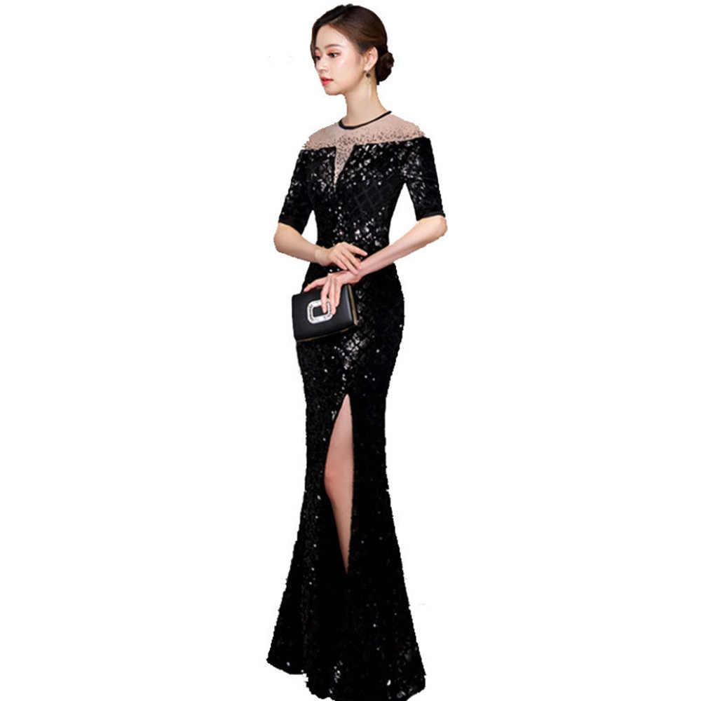 Kutlama elbiseleri siyah Mermaid yarım kollu Shunning boyun resmi gece elbisesi seksi yan bölünmüş