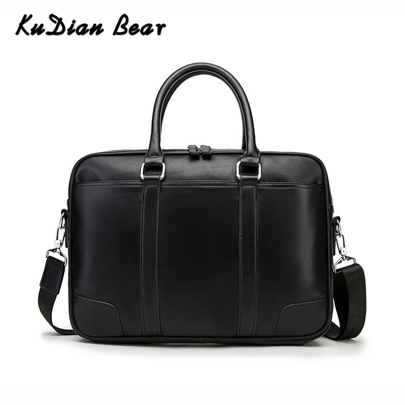 KUDIAN BEAR Brand Men Briefcase Leather Handbag Office Bags For Mens Shoulder Bags Crossbody 14 Inches Laptop Bag BIG014 PM45