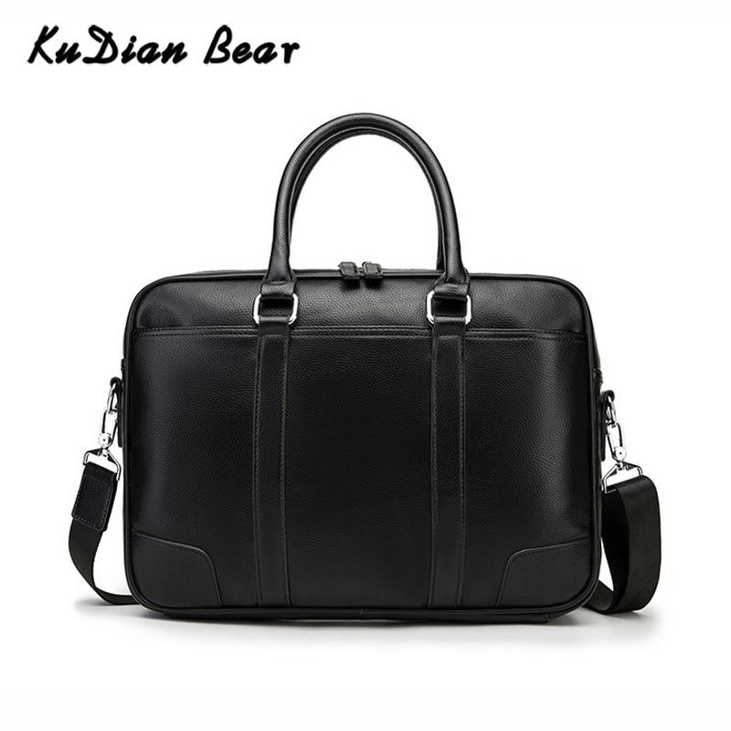 KUDIAN BEAR Brand Men Briefcase Leather Handbag Office Bags For Mens Shoulder Bags Crossbody 14 Inches Laptop Bag BIG014 PM45