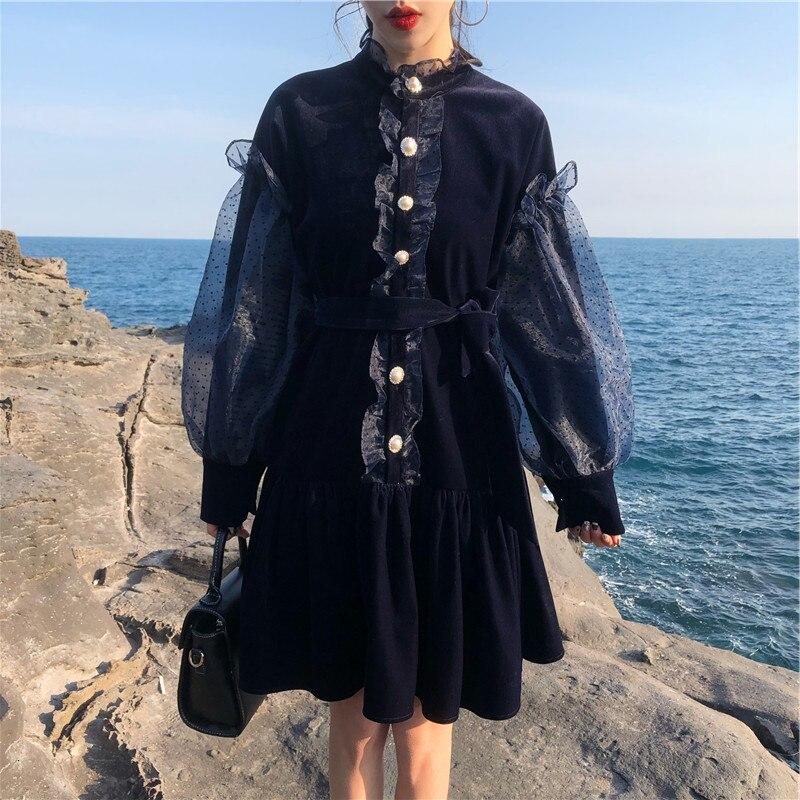 New Style Women Fashion Puff Lantern Sleeve Temperament Velvet Lace Ruffle Single breasted Belt Bow Casual Vintage Dresses Dress