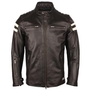 Image 4 - オートバイの革のジャケット男性 100% 本物の牛革革natrualスキンコートの男性スリムフィット爆撃機バイカーレザージャケットコート秋M218