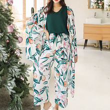 4 Pieces/Set Women Spring Autumn Pajamas Green Print Soft Sleepwear Bohemia Loose Casual Home Clothes Flower Nightwear Suit