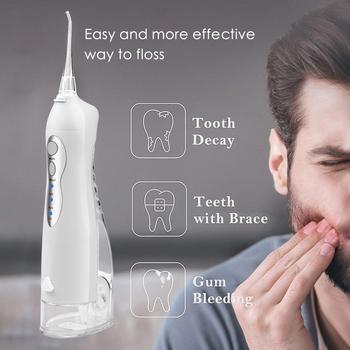 Elektryczny irygator do jamy ustnej 3 tryb USB akumulator irygator do zębów rodzina podróży użyj wodoodporny strumień wody pod ciśnieniem nici do czyszczenia zębów tanie i dobre opinie iDestone CN (pochodzenie) dla dorosłych Water Flosser Rechargeable Oral Irrigator Travel And Family Use Clean Teeth Massage Gum