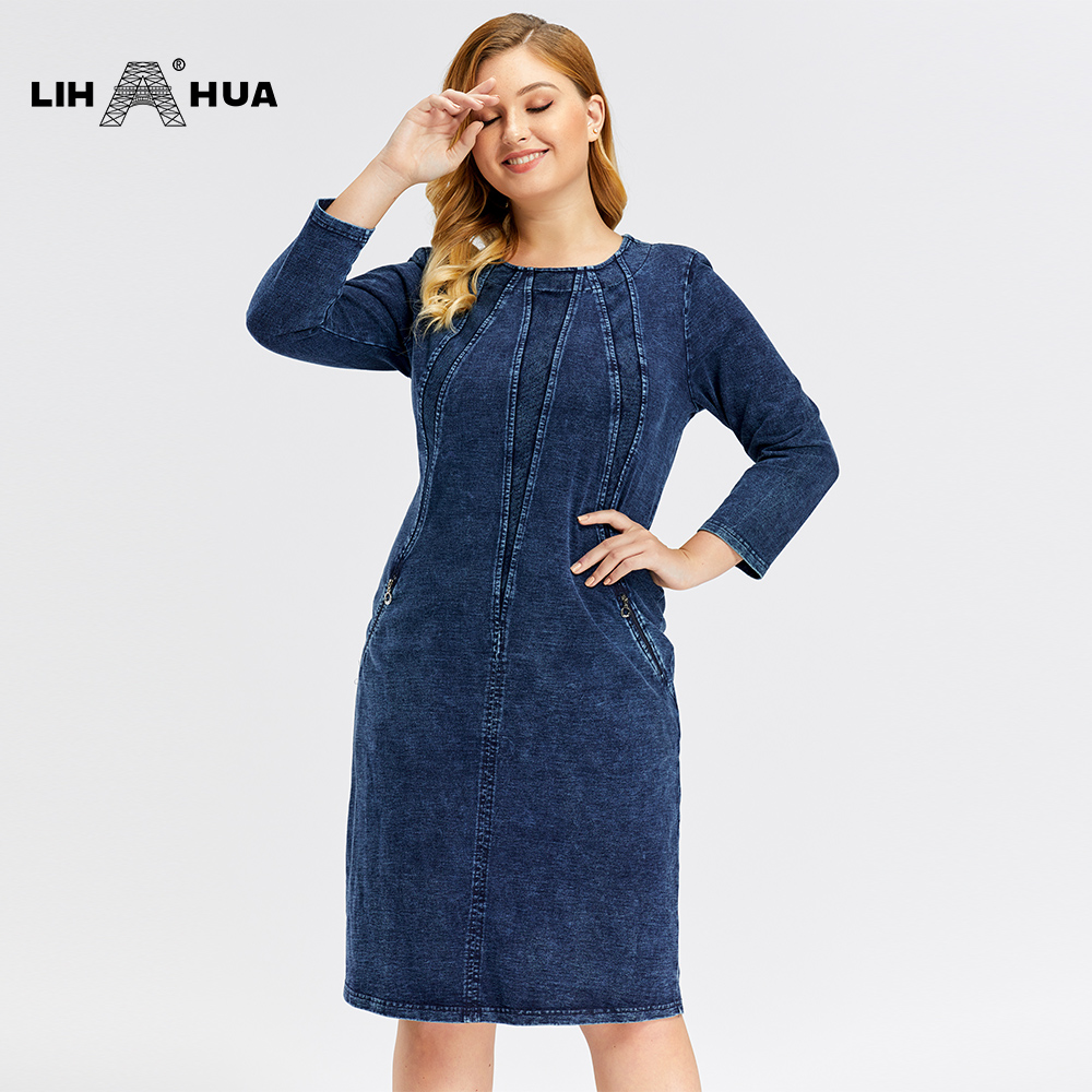 LIH HUA Women's Plus Size Denim Dress Premium Stretch Denim  Slim Fit Dress Casual Dress With Shoulder Pads