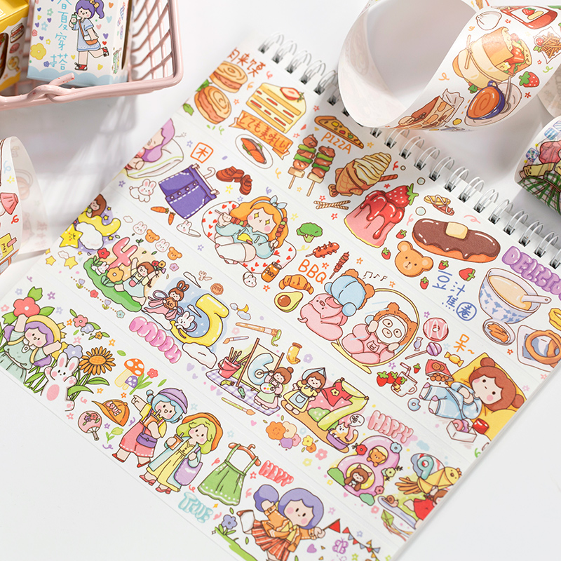 Girl Holiday Series Journal Washi Tape DIY Scrapbooking Sticker Label Kawaii Food Travel Masking Tape School Office Supply