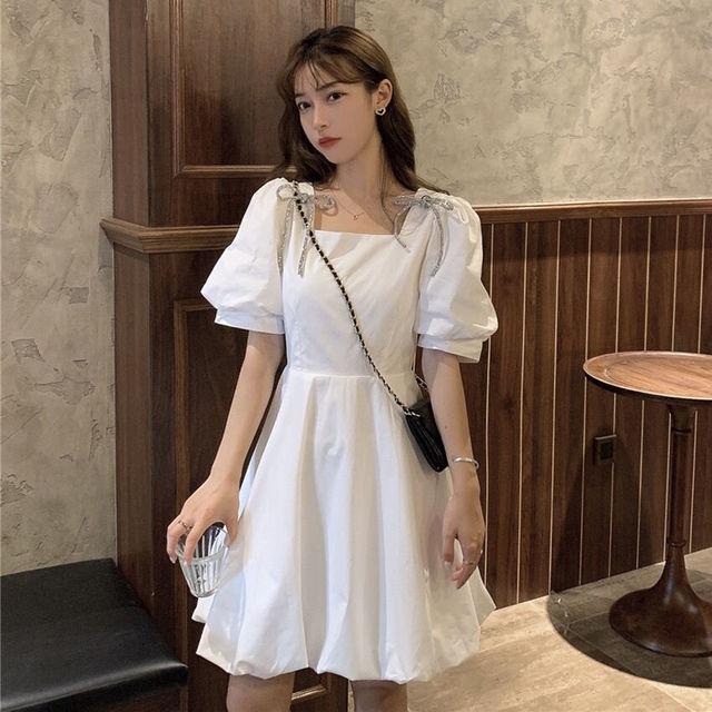 Summer Mini Dress Women White Puff Sleeve Korean Style Fairy Dress Bows Chiffon Japan Style Kawaii Elegant Vintage Party Dress 1