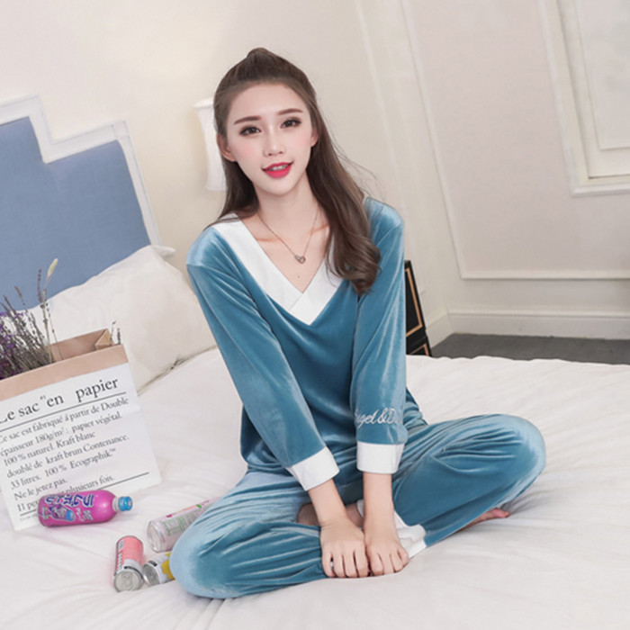 Girls Gold Velvet Pajamas Sets Women Autumn Winter Long Sleeve V-Neck Velour Pyjama Suit Warm Sleepwear Homewear Home Clothes 57