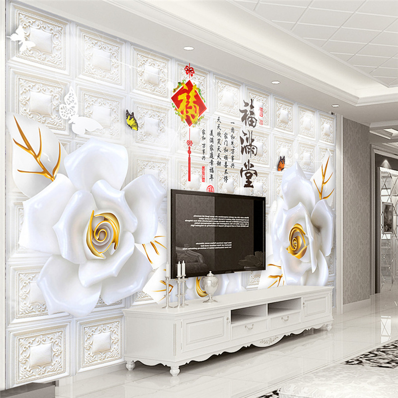 3D Living Room Television Background Wall Wallpaper Modern Minimalist Relief Luxury 5D Bump Mural 8D European Style Wall