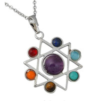 FYJS Unique Silver Plated Star of David with Colorful Small Stone Pendant Healing Chakra Necklace Amulet  Jewelry