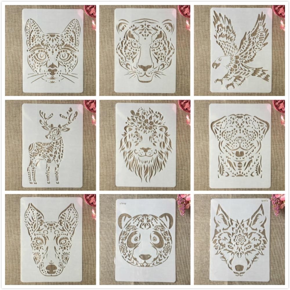 9Pcs/Set A4 29cm Lion Tiger Deer Animals DIY Layering Stencils Painting Scrapbook Coloring Embossing Album Decorative Template