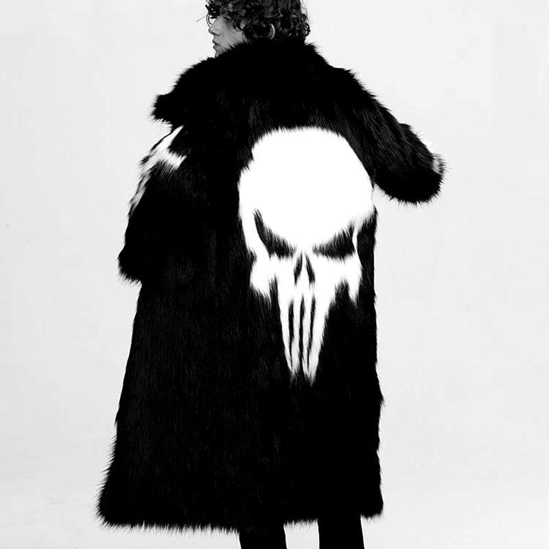 Модное мужское пальто в стиле панк с искусственным мехом, длинное теплое Мужское пальто с рисунком черепа, черно белое, размер S 3XL, Мужская о... - 2