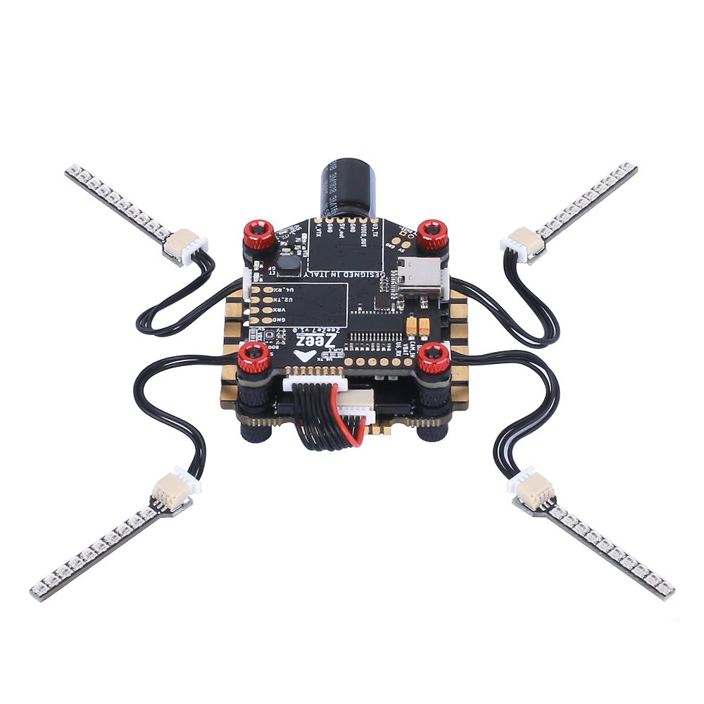 Zeez F7 FC 5V/3A BEC 6UARTS OSD 30.5*30.5mm 3-8S+Zeez 60A 4-in-1 BLHeli_32 ESC+Zeez LED FPV RC Stack For RC FPV Racing Drone